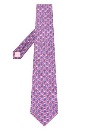 Шелковый галстук с узором Turnbull & Asser синего цвета | Фото №1
