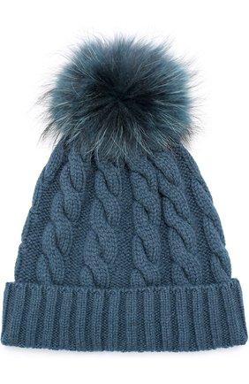 Кашемировая шапка с меховым помпоном Kashja` Cashmere темно-зеленого цвета   Фото №1
