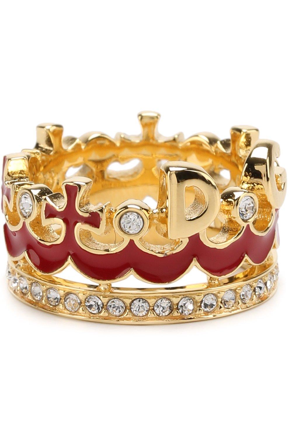 Кольцо с отделкой из кристаллов Swarovski Dolce & Gabbana золотое | Фото №2
