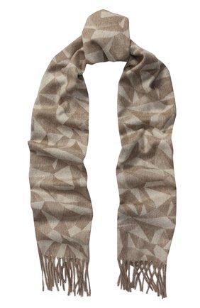 Кашемировый шарф с принтом и бахромой Piacenza Cashmere 1733 бежевый | Фото №1