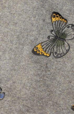 Кашемировый палантин с вышивками и замшевой отделкой Piacenza Cashmere 1733 серый | Фото №1