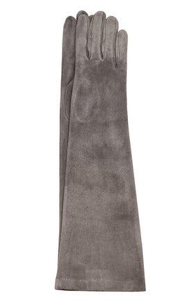 Удлиненные замшевые перчатки Sermoneta Gloves бежевые   Фото №1