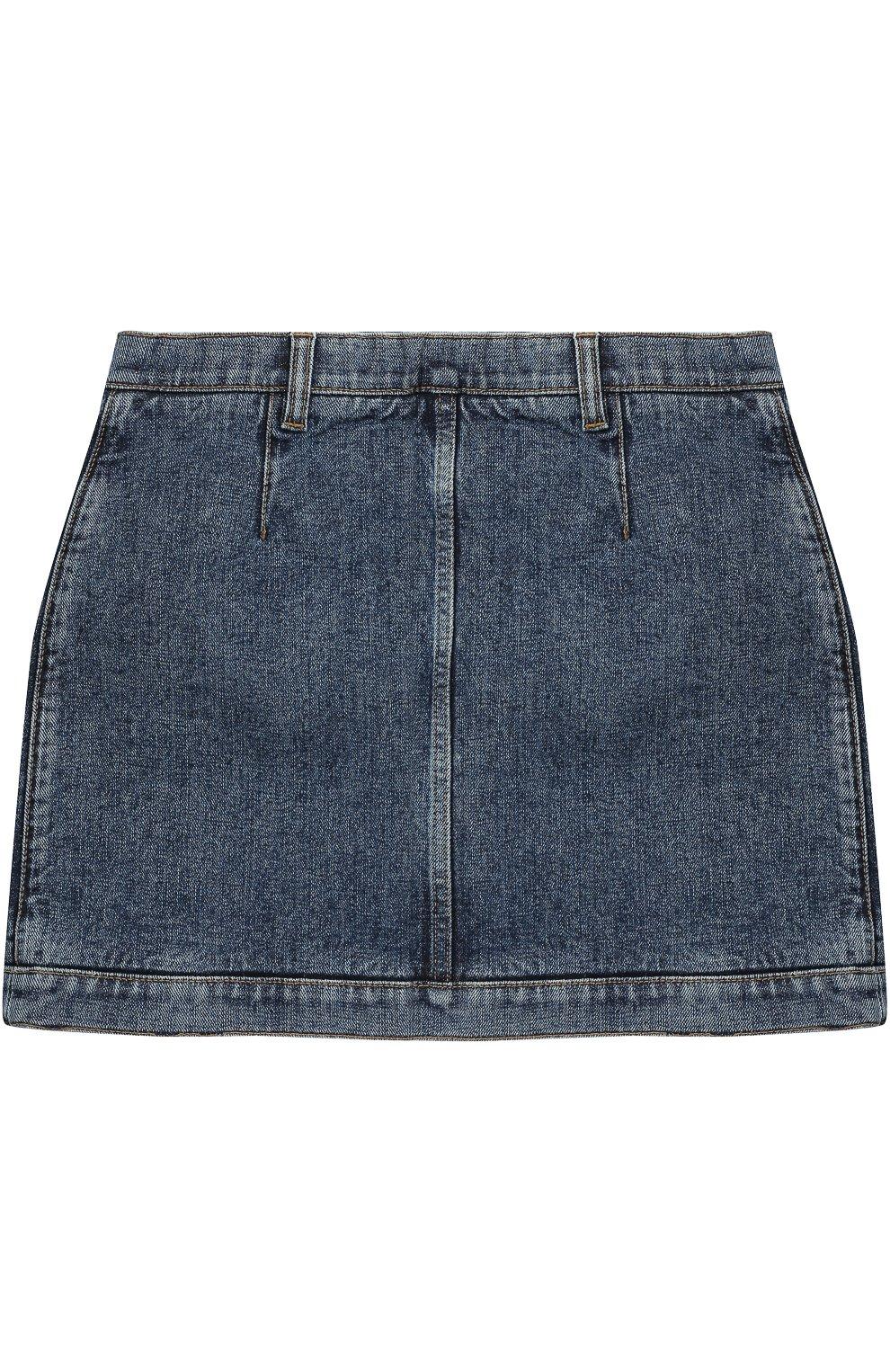 Мини-юбка из денима с накладными карманами и декоративными пуговицами | Фото №2