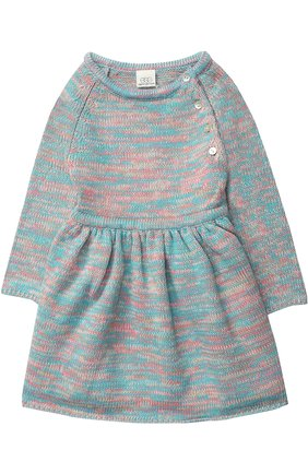 Детское вязаное мини-платье с декоративными пуговицами Egg By Susan Lazar разноцветного цвета | Фото №1