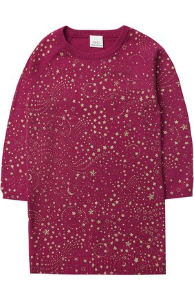 Вязаное мини-платье прямого кроя с металлизированным принтом | Фото №1
