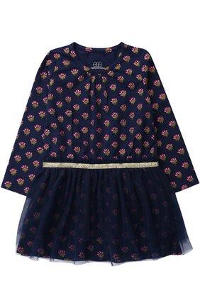 Трикотажное мини-платье с принтом и глиттером на поясе | Фото №1