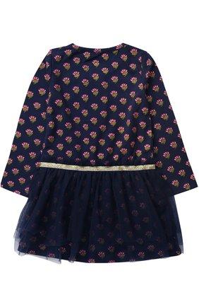 Детское трикотажное мини-платье с принтом и глиттером на поясе Egg By Susan Lazar темно-синего цвета | Фото №1