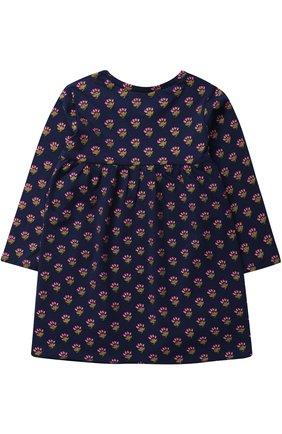 Детское трикотажное мини-платье свободного кроя с принтом Egg By Susan Lazar темно-синего цвета | Фото №1