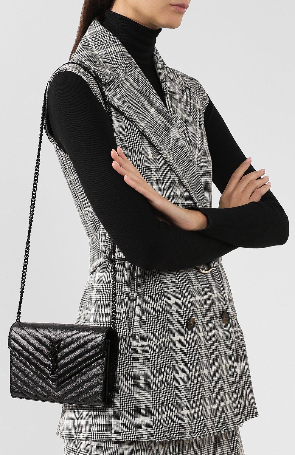 Женская клатч monogram на цепочке SAINT LAURENT черного цвета, арт. 377828/B0W08 | Фото 5