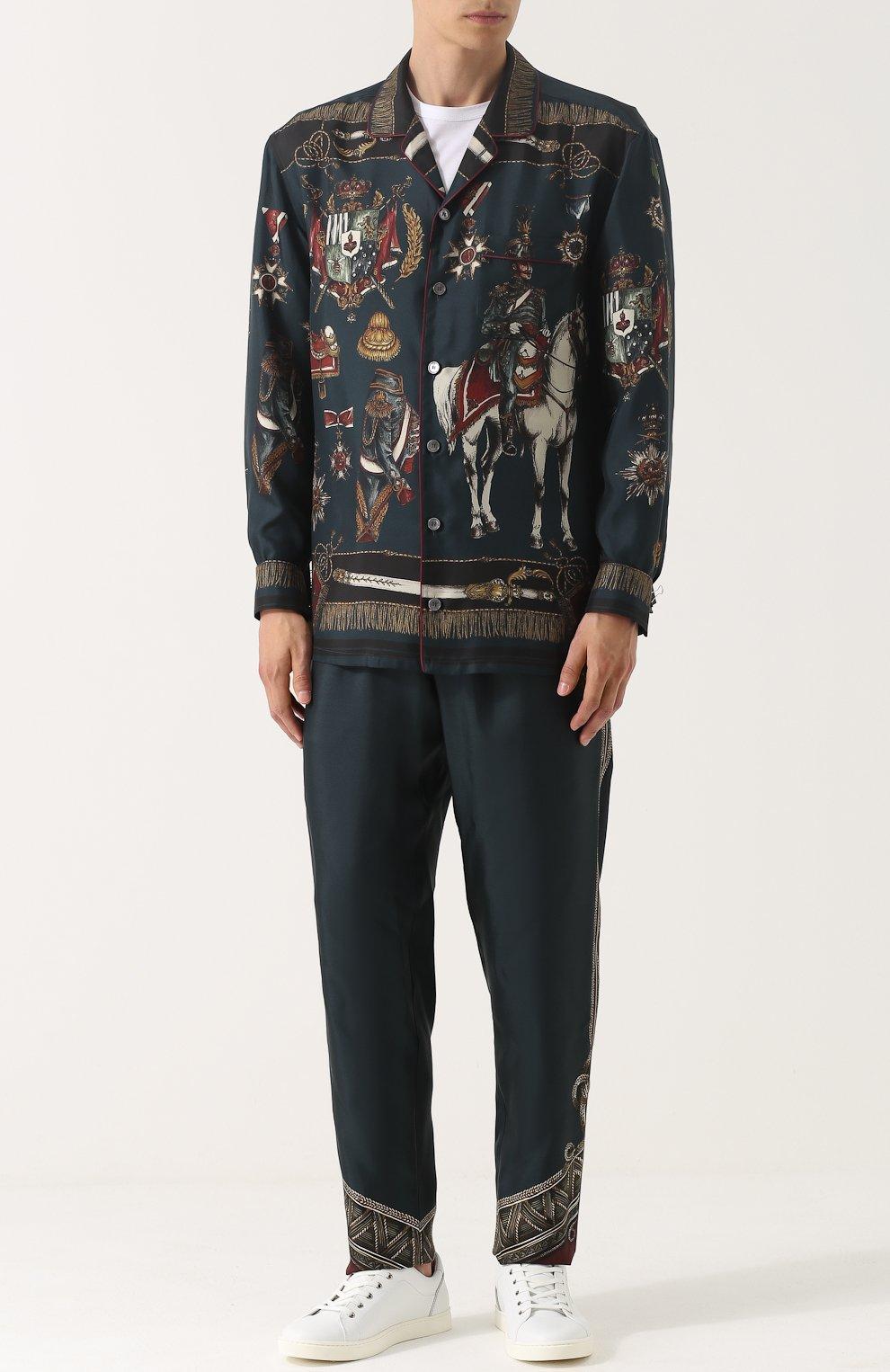 Шелковые брюки прямого кроя с принтом | Фото №2