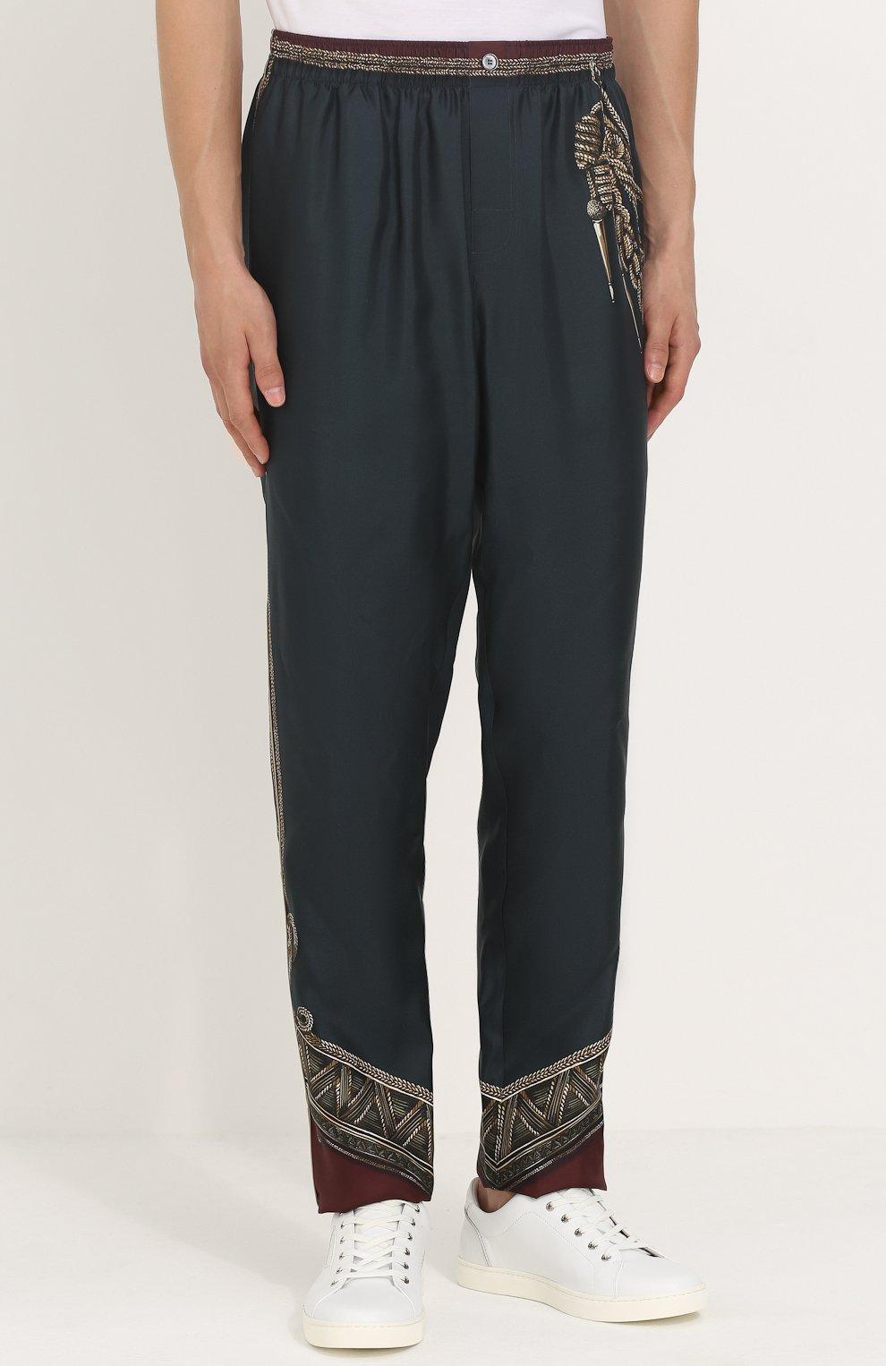 Шелковые брюки прямого кроя с принтом | Фото №3