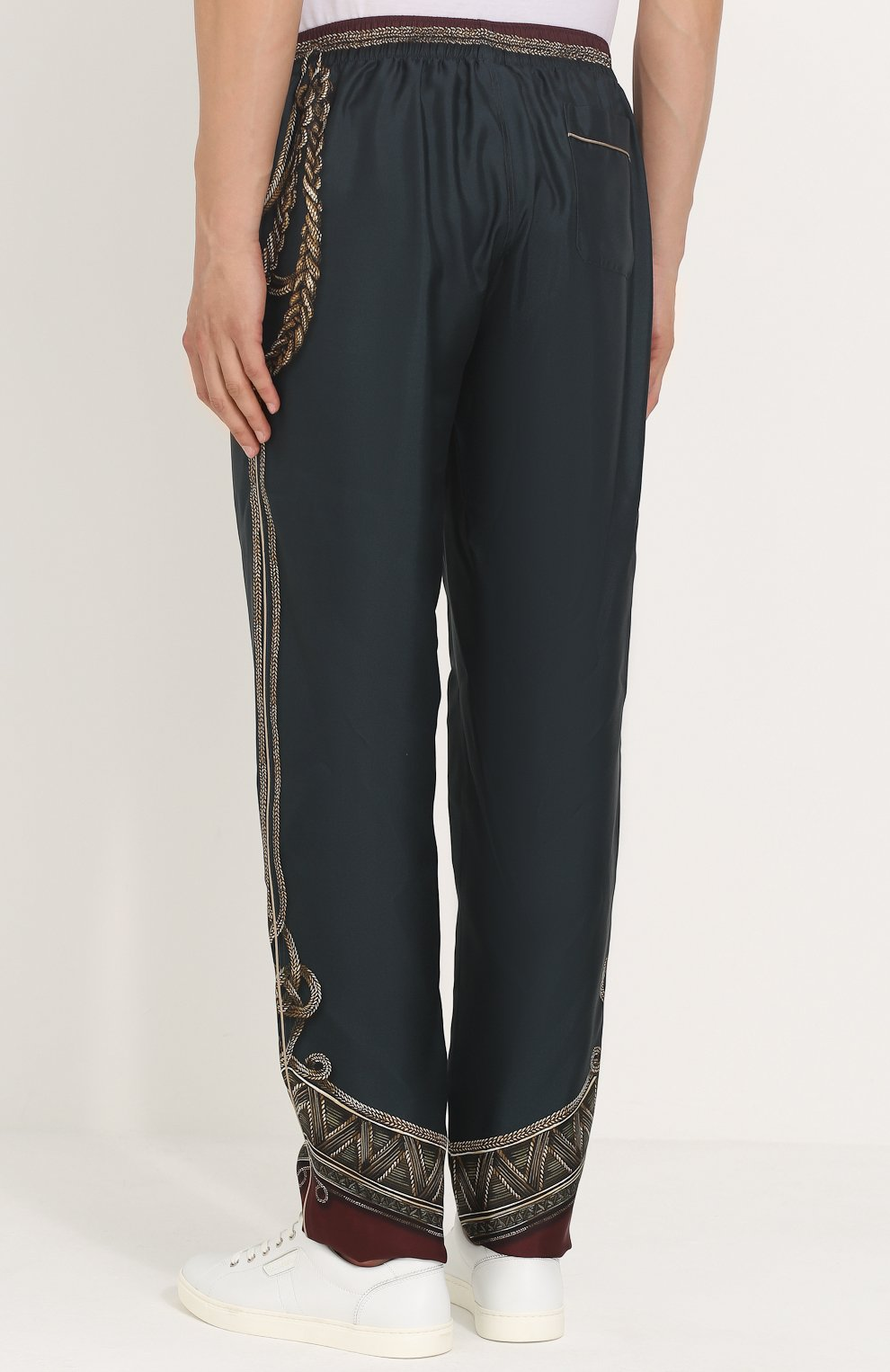 Шелковые брюки прямого кроя с принтом | Фото №4