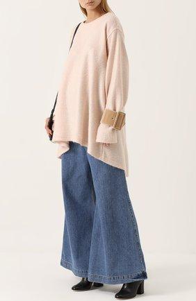 Пуловер свободного кроя с круглым вырезом Mm6 розовый   Фото №1