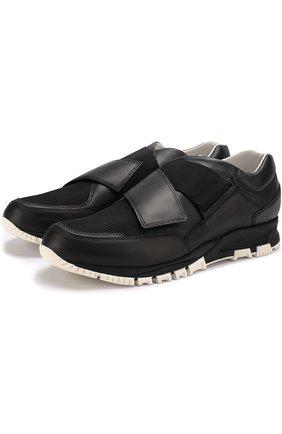 Кожаные кроссовки без шнуровки с текстильными вставками