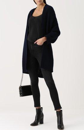 Укороченные джинсы-скинни с потертостями Agolde черные | Фото №1