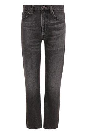 Укороченные джинсы прямого кроя с потертостями | Фото №1