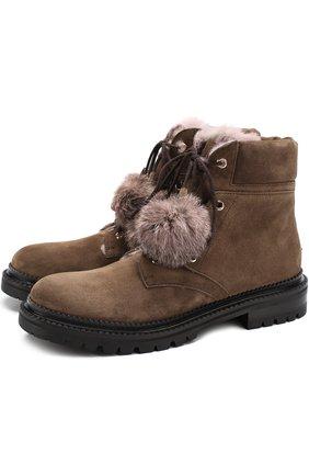 Замшевые ботинки Elba с помпонами | Фото №1