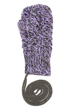 Шерстяные варежки фактурной вязки с отделкой металлизированной нитью | Фото №1
