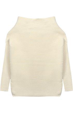 Пуловер фактурной вязки с воротником-стойкой | Фото №1