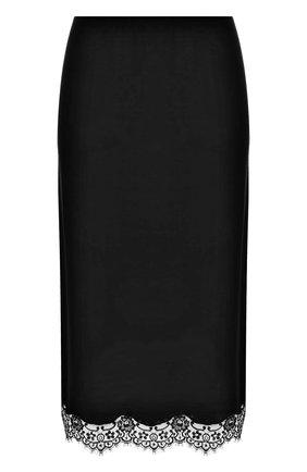 Юбка из смеси шерсти и шелка с кружевной отделкой | Фото №1