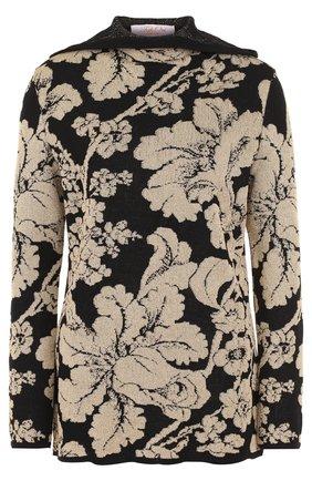 Шерстяной пуловер с принтом и капюшоном Tak.Ori черный | Фото №1