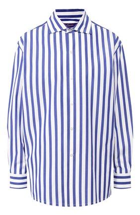 Женская хлопковая рубашка RALPH LAUREN голубого цвета, арт. 290649380   Фото 1 (Длина (для топов): Удлиненные; Рукава: Длинные; Материал внешний: Хлопок; Принт: С принтом, Полоска; Женское Кросс-КТ: Рубашка-одежда)