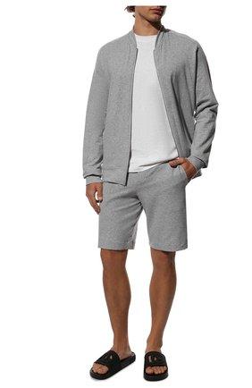 Мужские хлопковые домашние шорты с поясом на кулиске HANRO серого цвета, арт. 075070   Фото 2