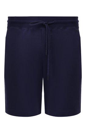 Мужские хлопковые домашние шорты с поясом на кулиске HANRO темно-синего цвета, арт. 075070   Фото 1