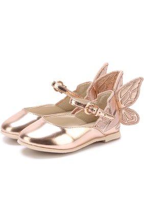 Туфли из металлизированной кожи с аппликацией | Фото №1