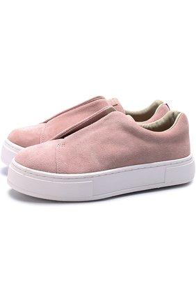 Замшевые кеды без шнуровки Eytys розовые   Фото №1
