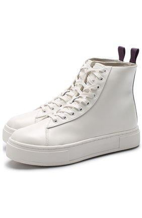 Высокие кожаные кеды Kibo на шнуровке Eytys белые   Фото №1