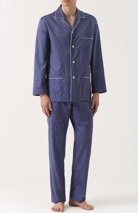Хлопковая пижама с принтом Roberto Ricetti синяя | Фото №1