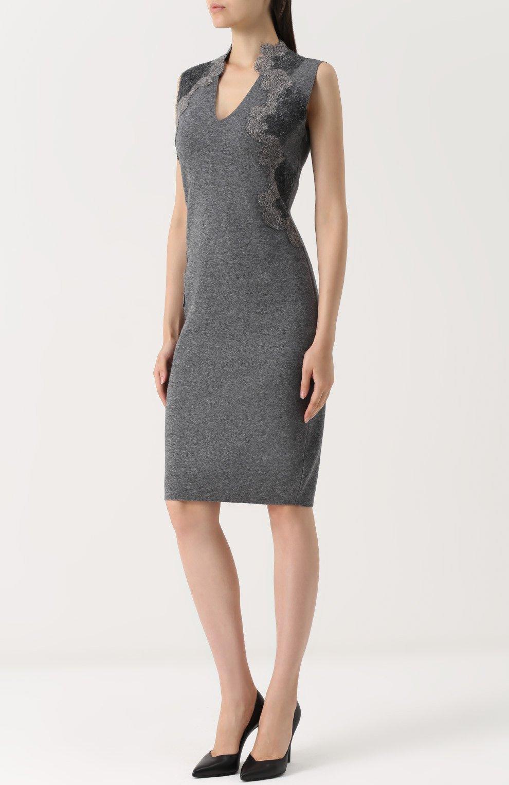 a4923d294b3 Женское темно-серое вязаное платье-футляр с кружевной отделкой D ...