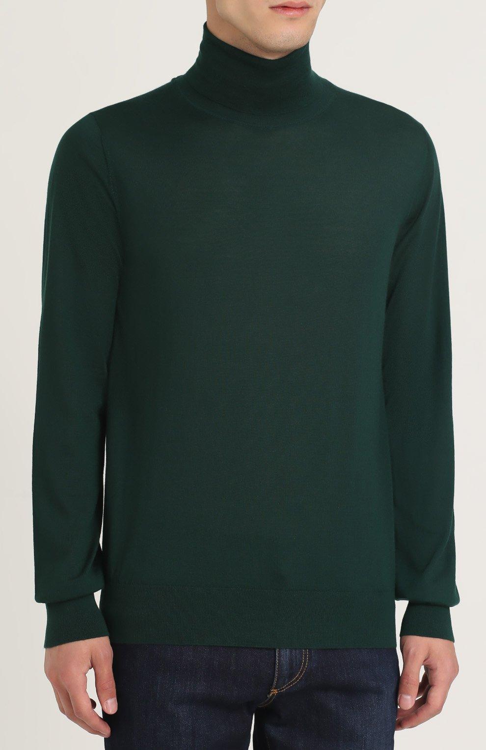 Кашемировая водолазка тонкой вязки Dolce & Gabbana зеленый | Фото №3