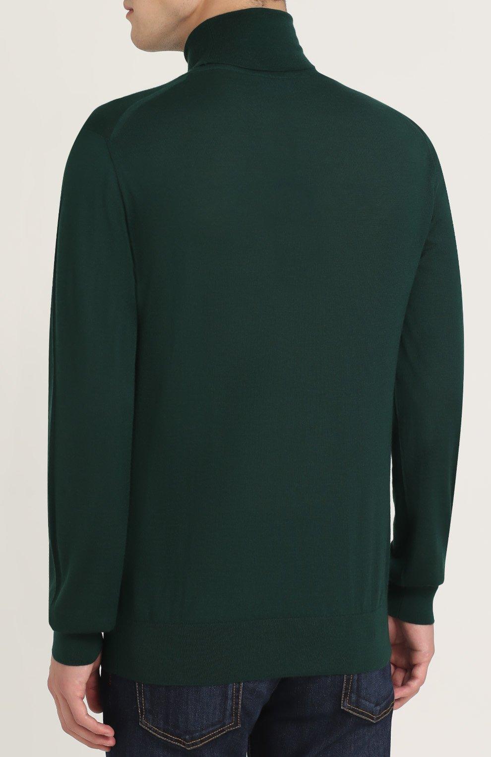 Кашемировая водолазка тонкой вязки Dolce & Gabbana зеленый | Фото №4