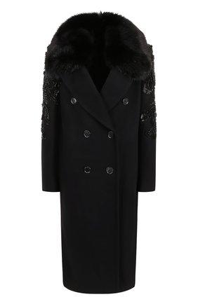 Двубортное пальто с отделкой из меха лисы и вышивкой | Фото №1