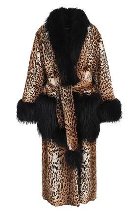 Женская шуба из меха козлика с отделкой из меха лисы DOLCE & GABBANA леопардового цвета, арт. 0102/F0T17F/FUPRL | Фото 1