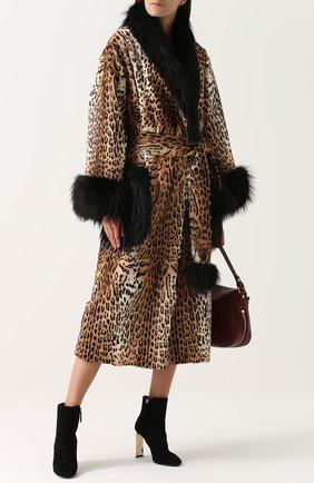 Женская шуба из меха козлика с отделкой из меха лисы DOLCE & GABBANA леопардового цвета, арт. 0102/F0T17F/FUPRL | Фото 2