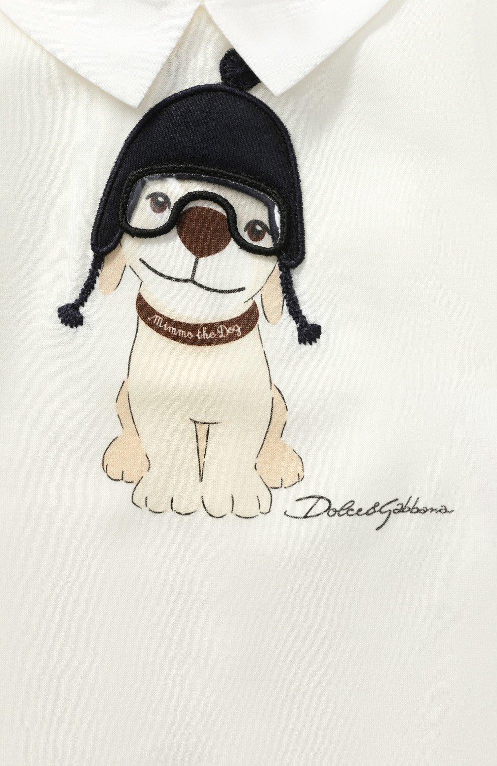 Хлопковое боди с принтом и аппликацией Dolce & Gabbana белого цвета | Фото №3