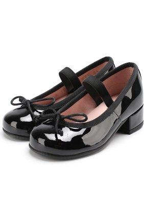 Детские лаковые туфли с бантами Pretty Ballerinas голубого цвета   Фото №1