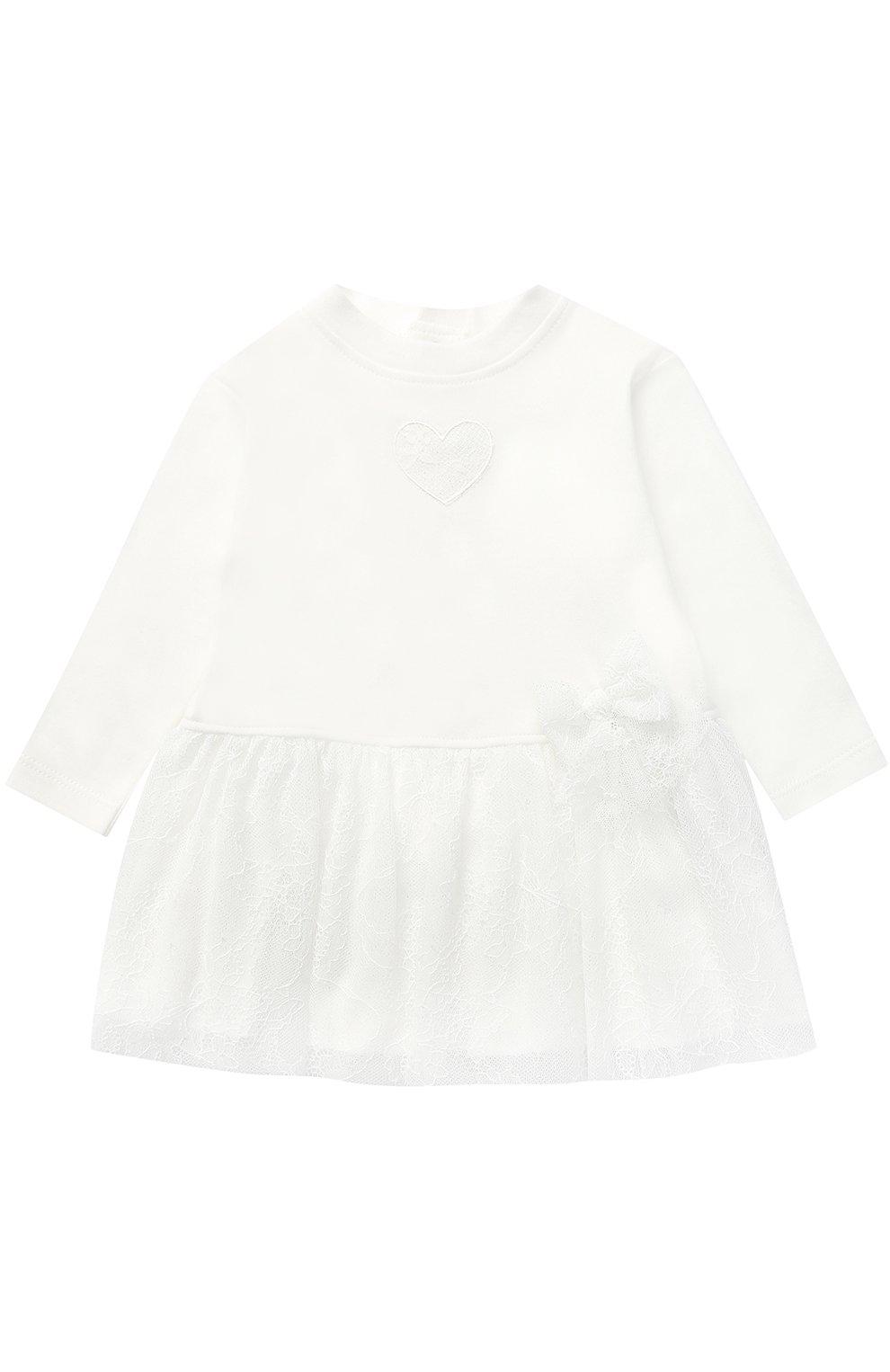 Женский хлопковое платье с кружевной отделкой и бантом ALETTA кремвого цвета, арт. RL777170J/1M-18M   Фото 1