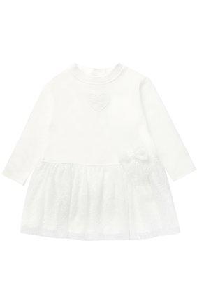 Хлопковое платье с кружевной отделкой и бантом | Фото №1