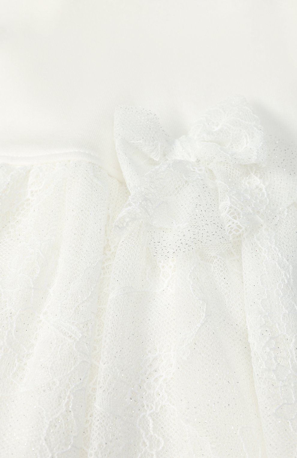 Женский хлопковое платье с кружевной отделкой и бантом ALETTA кремвого цвета, арт. RL777170J/1M-18M   Фото 3