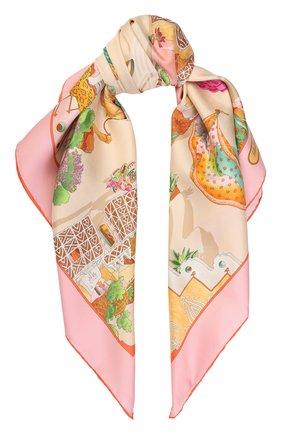 Шелковый платок с принтом Salvatore Ferragamo кремовый | Фото №1