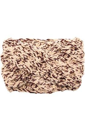 Шерстяная повязка фактурной вязки с отделкой металлизированной нитью | Фото №1