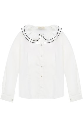 Хлопковая блуза с декоративным воротником и контрастной отделкой | Фото №1
