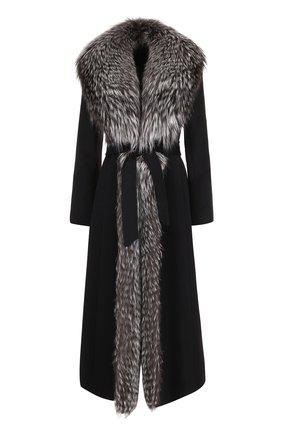 Шерстяное пальто с отделкой из меха лисы | Фото №1