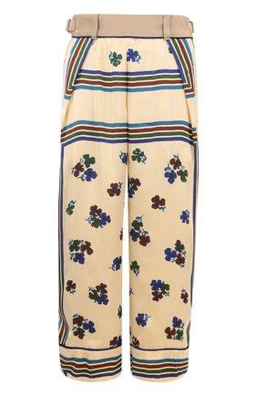 Укороченные брюки с карманами и принтом Sacai бежевые | Фото №1