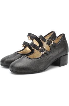 Туфли с металлизированной отделкой на ремешках | Фото №1