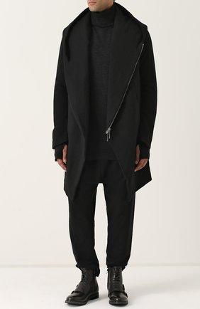 Пальто из смеси шерсти и льна на молнии с капюшоном Masnada черного цвета   Фото №1